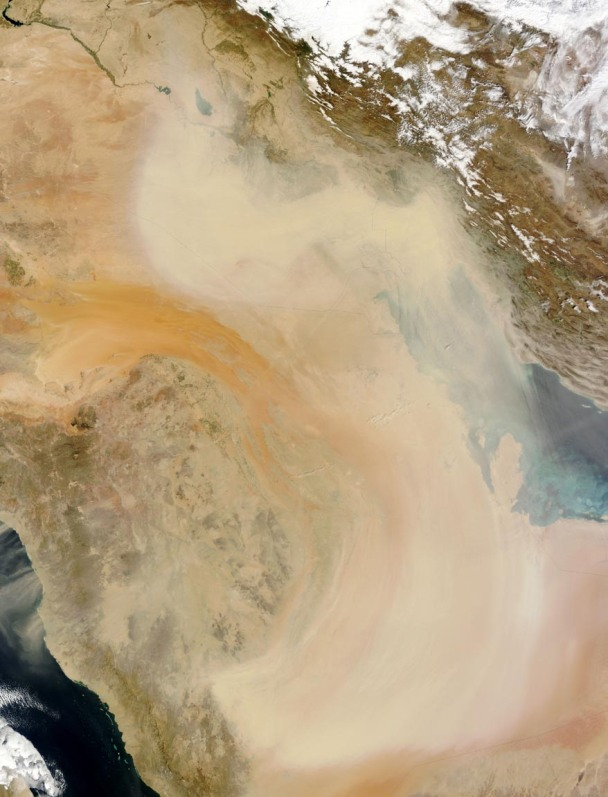 Photo caption: Dust swirls across the Arabian Peninsula in this NASA Earth Observing System photo from July 2012.