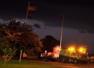 UAH's Mobile Integrated Profiling Systems collect data while a storm rolls over Maywood, Neb.